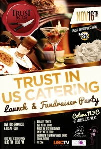Trust In Us Catering Launch Party Flyer